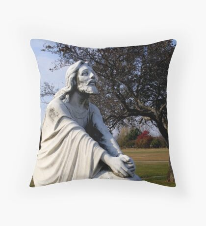 Jesus Kneeling In Prayer Throw Pillow