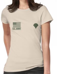 Specialist Infantry US Army Rank Desert by Mision Militar ™ Womens Fitted T-Shirt