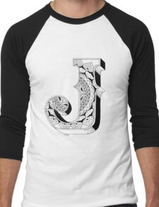 J - Mandala N°1 inside Alphabet N°1 Men's Baseball ¾ T-Shirt