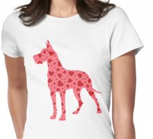 Valentine Hearts Great Dane Womens Fitted T-Shirt