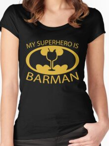 My Superhero is Barman Women's Fitted Scoop T-Shirt