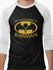 My Superhero is Barman Men's Baseball ¾ T-Shirt