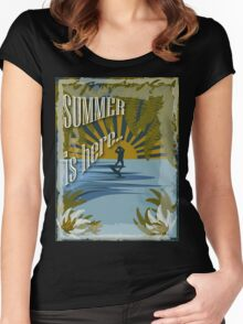 Retro kite surf illustration,Summer is here slogan, vintage,  Women's Fitted Scoop T-Shirt