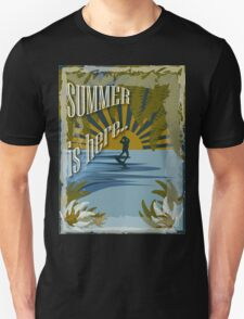 Retro kite surf illustration,Summer is here slogan, vintage,  Unisex T-Shirt