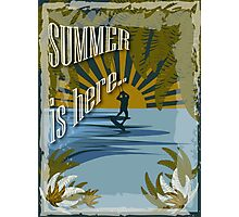 Retro kite surf illustration,Summer is here slogan, vintage,  Photographic Print