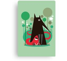 Red and wolf in the woods Canvas Print