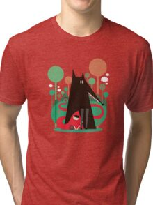 Red and wolf in the woods Tri-blend T-Shirt