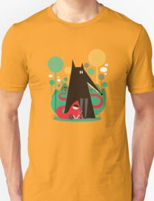 Red and wolf in the woods Unisex T-Shirt