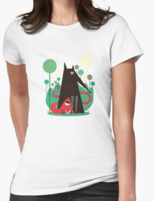 Red and wolf in the woods Womens Fitted T-Shirt