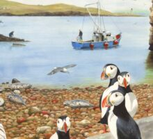 Atlantic Puffins Scottish Beach Painting Sticker