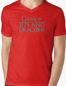 Game of Tits and Dragons Mens V-Neck T-Shirt