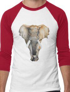 Watercolor hand drawn Elephant Men's Baseball ¾ T-Shirt