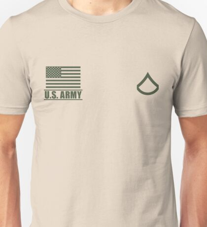 Private First Class Infantry US Army Rank Desert by Mision Militar ™ Unisex T-Shirt