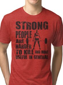 Strong People (Girl Deadlift) Tri-blend T-Shirt