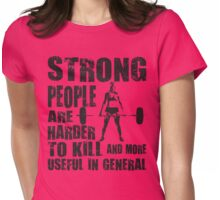 Strong People (Girl Deadlift) Womens Fitted T-Shirt