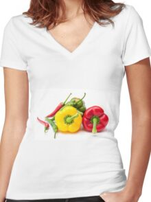 Mixed Peppers 2 Women's Fitted V-Neck T-Shirt