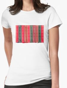 Row of Old Books Showing Spines Womens Fitted T-Shirt