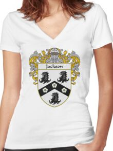 Jackson Coat of Arms/Family Crest Women's Fitted V-Neck T-Shirt