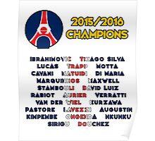 Paris Saint-Germain 2015/2016 French Champions Poster