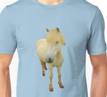 white icelandic horse on limpet shell background Unisex T-Shirt