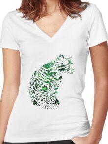 The forest ocelot Women's Fitted V-Neck T-Shirt