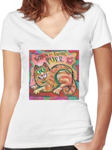 Cat: When in Doubt, Purr Women's Fitted V-Neck T-Shirt