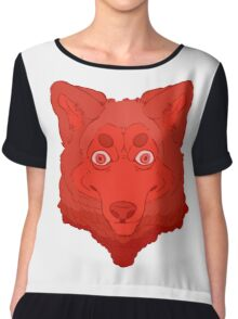 All Red Wolf  Chiffon Top