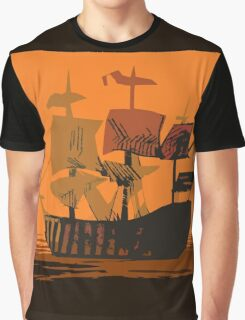 Sunset Ship Graphic T-Shirt