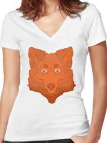 All Orange Wolf Women's Fitted V-Neck T-Shirt
