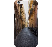 Narrow street with parked motorcycles. iPhone Case/Skin