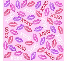 Girly XOXO and Red Pink Watercolor Painted Lips Photographic Print