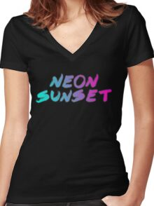 Neon Sunset Typography  Women's Fitted V-Neck T-Shirt
