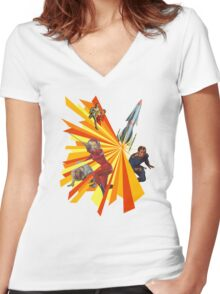 Pulp Science Fiction Women's Fitted V-Neck T-Shirt
