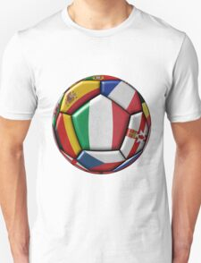 Soccer ball with flags - flag of Italy in the center Unisex T-Shirt