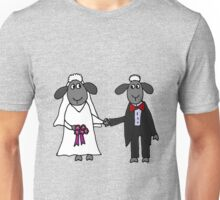 Cool Funny Sheep Bride and Groom Wedding Art Unisex T-Shirt