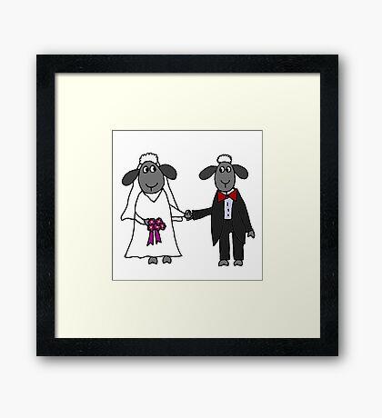 Cool Funny Sheep Bride and Groom Wedding Art Framed Print