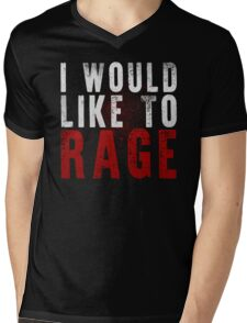 I WOULD LIKE TO RAGE!!! (White)  Mens V-Neck T-Shirt