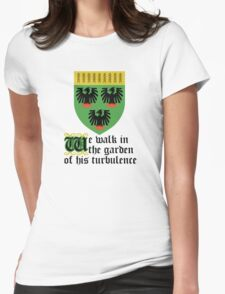 We walk in the garden of his turbulence Womens Fitted T-Shirt