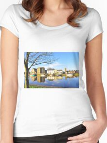 The Claddagh, Galway, Water Reflections Women's Fitted Scoop T-Shirt