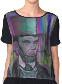 psychedelic president  Abraham Lincoln with stovepipe hat  and pink halo Chiffon Top
