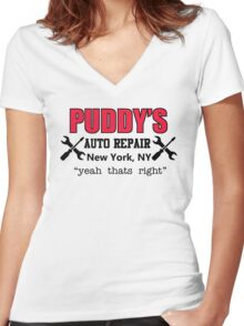 Seinfeld - Puddy's Auto Repair Women's Fitted V-Neck T-Shirt