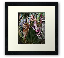 Queen of lions fairy fantasy,medieval lady  Framed Print