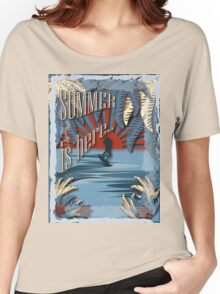 Retro kite surf illustration,Summer is here slogan, vintage,  Women's Relaxed Fit T-Shirt