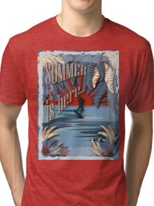 Retro kite surf illustration,Summer is here slogan, vintage,  Tri-blend T-Shirt