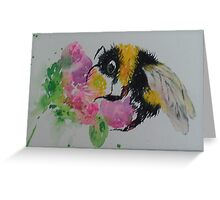 Bumble bee and pink flower Greeting Card