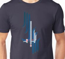"the word: Peace in Arabic Calligraphy ""Salam"" on blue Unisex T-Shirt"