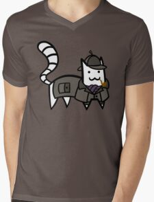 Detective Cat Mens V-Neck T-Shirt