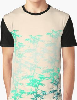 Giant Bamboo Grass in Mint Green on Peach Pastel with Variegated Plants Graphic T-Shirt