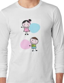 Illustration of happy Kids with Hearts Long Sleeve T-Shirt