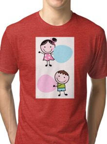 Illustration of happy Kids with Hearts Tri-blend T-Shirt